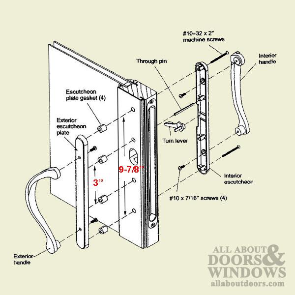 Marvin inactive dummy narrow sliding door handle dark for Narrow sliding glass door