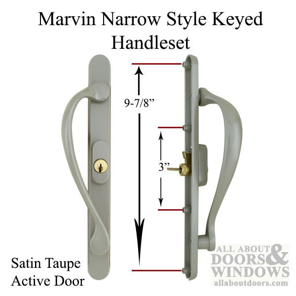 Active Keyed, Narrow Sliding Door Handle, Center Thumb - Matte Black