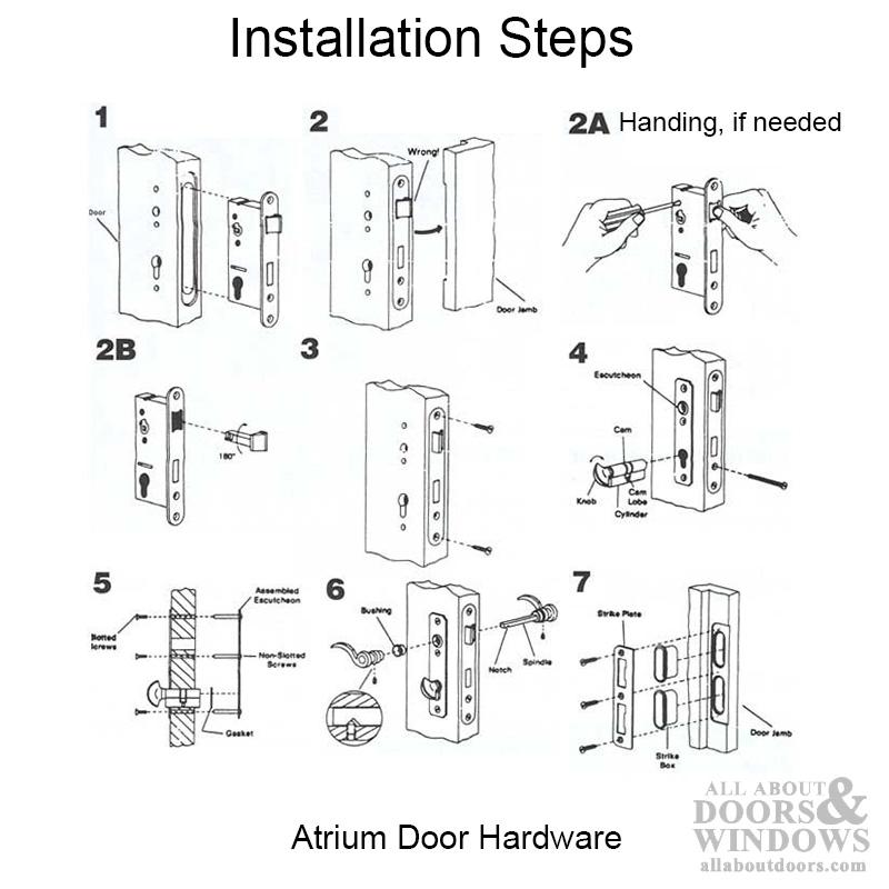 Satin Nickel Mortise Lock Hardware Set For Atrium Doors