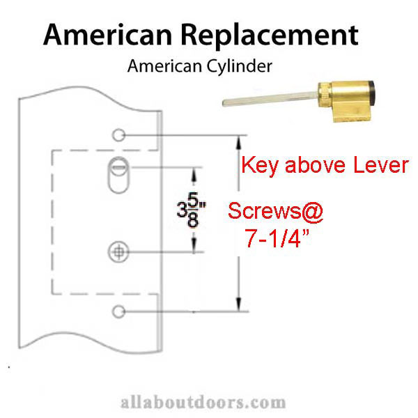 7-1/4 Screw Holes, Key Above Lever