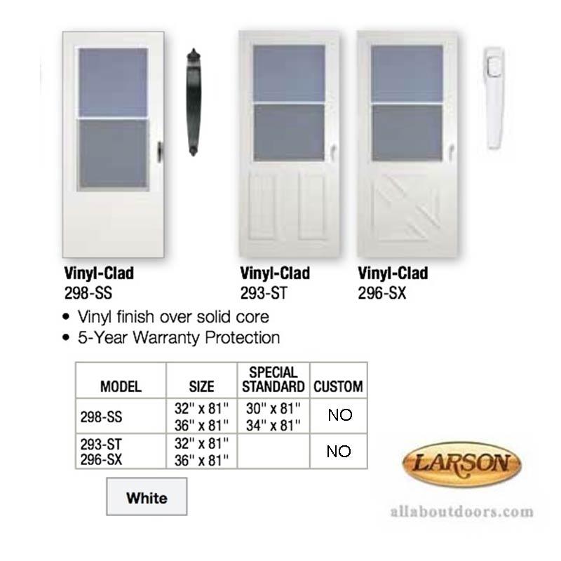 Vinyl clad self storing traditional storm door for Vinyl storm doors