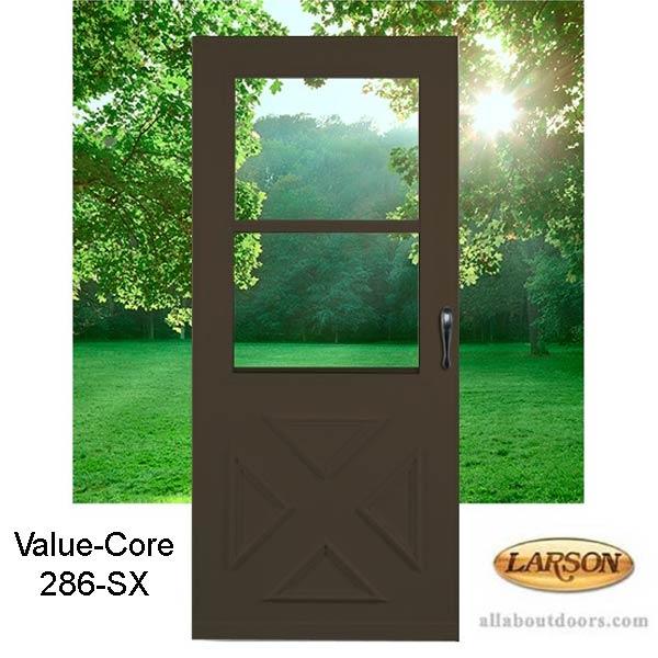 Larson Value Core Cross Buck Self Storing Storm Door