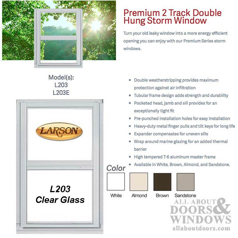 Larson Premium Double Hung 2-Track Storm Window, Clear Glass