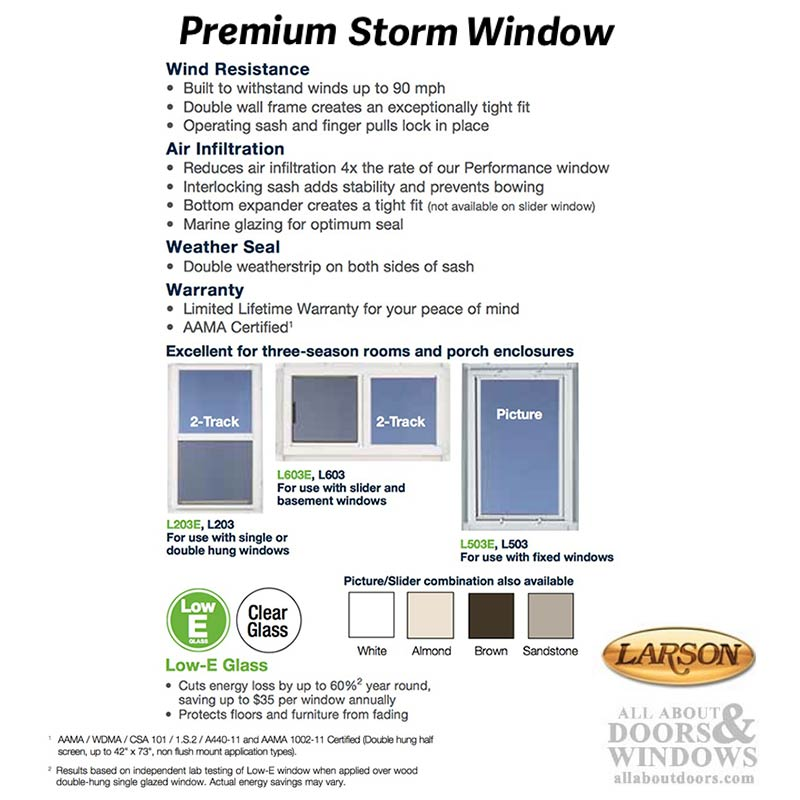Larson Premium Double Hung 2 Track Storm Window Clear Glass