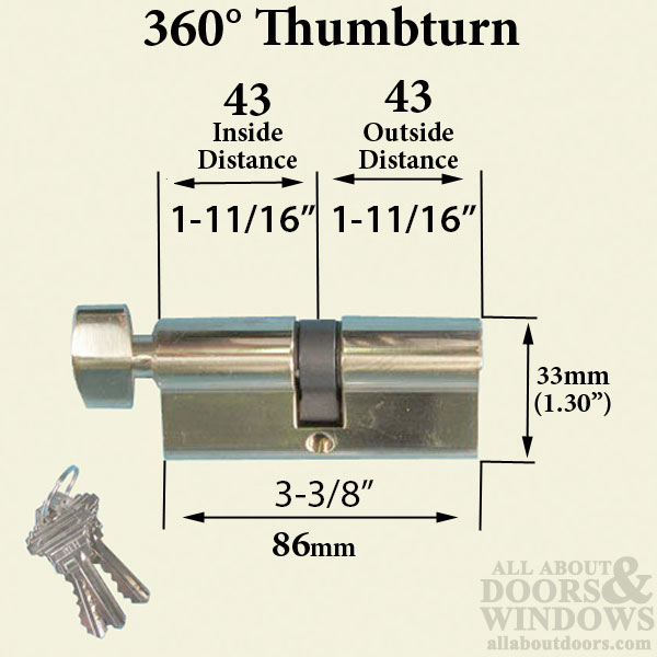 43 43 360 Profile Cylinder 3 5 8 Inch Housing Length