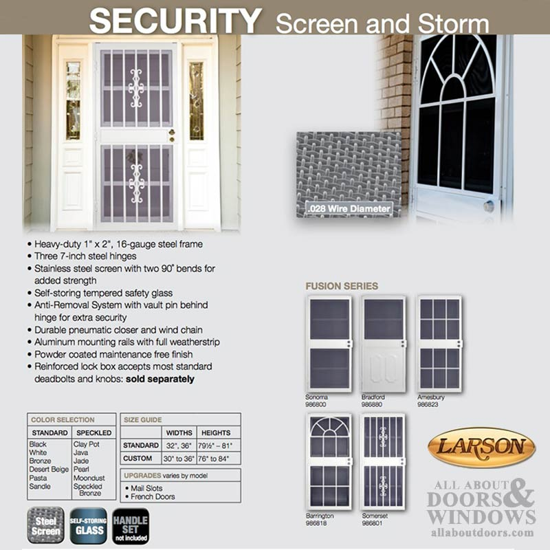 Security Door, Larson Barrington, Steel Frame, Self Storing
