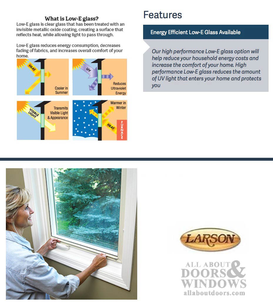 Larson Inside Interior Storm Window Low E Glass