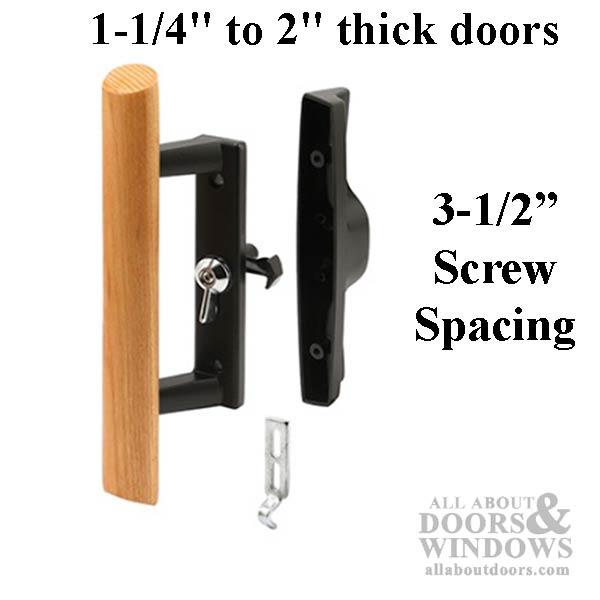 Handle set sliding patio door internal lock black for Patio door handle lock