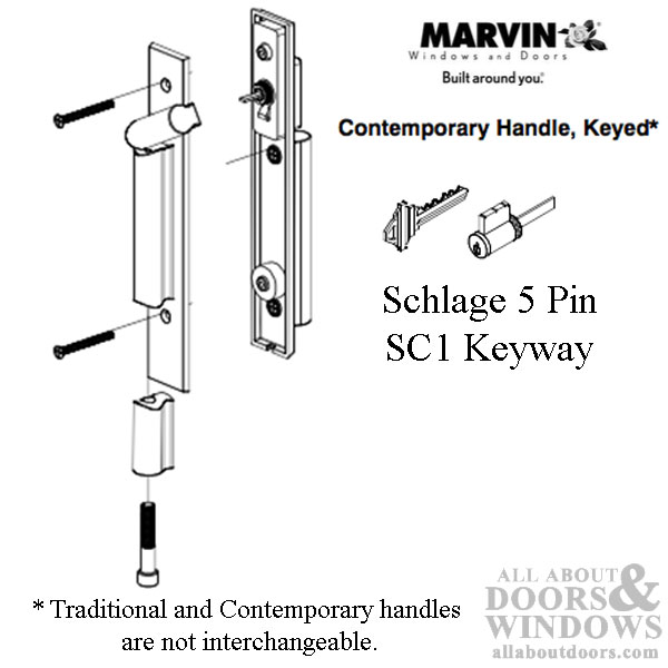 Marvin contemporary keyed handle ultimate sliding french for Marvin ultimate swinging screen door