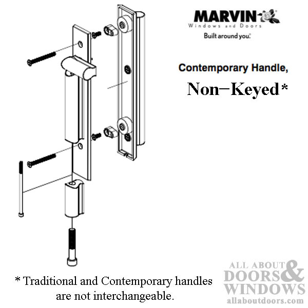 Marvin contemporary non keyed handle ultimate sliding for Marvin ultimate swinging screen door