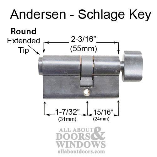Keyed Schlage Euro Cylinder Andersen Storm Door 3 Colors