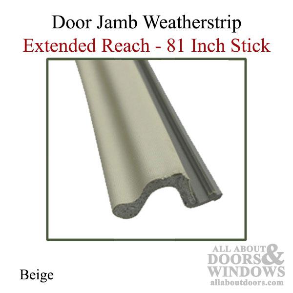 Door Jamb Weatherstrip 81 Inch Stick Extended Reach Beige
