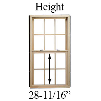 "28-11/16"" Unobstructed Glass Height"
