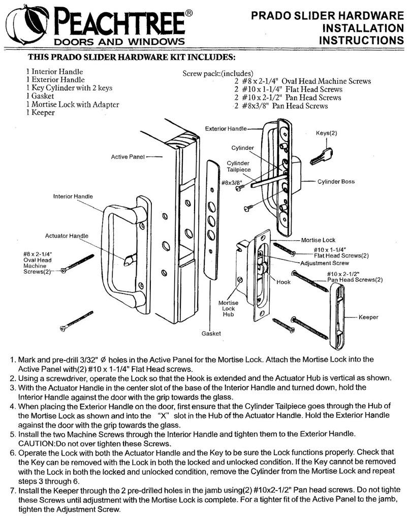 Peachtree Prado Sliding Door Hardware Installation