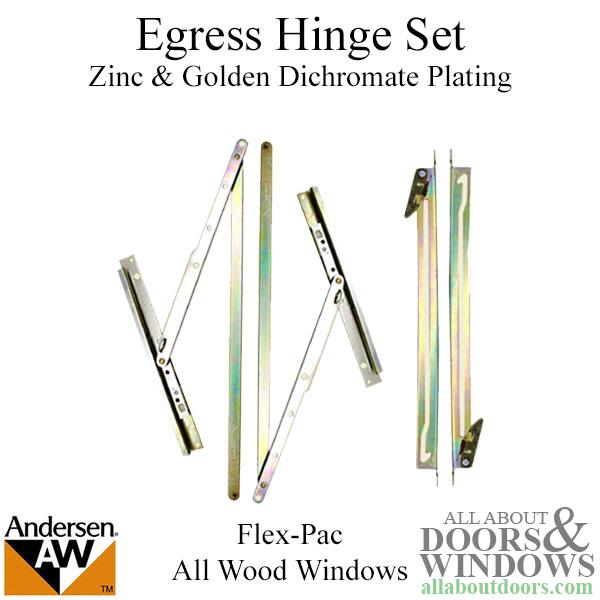 Egress Hinge Set W Screws For Andersen Flex Pac All Wood