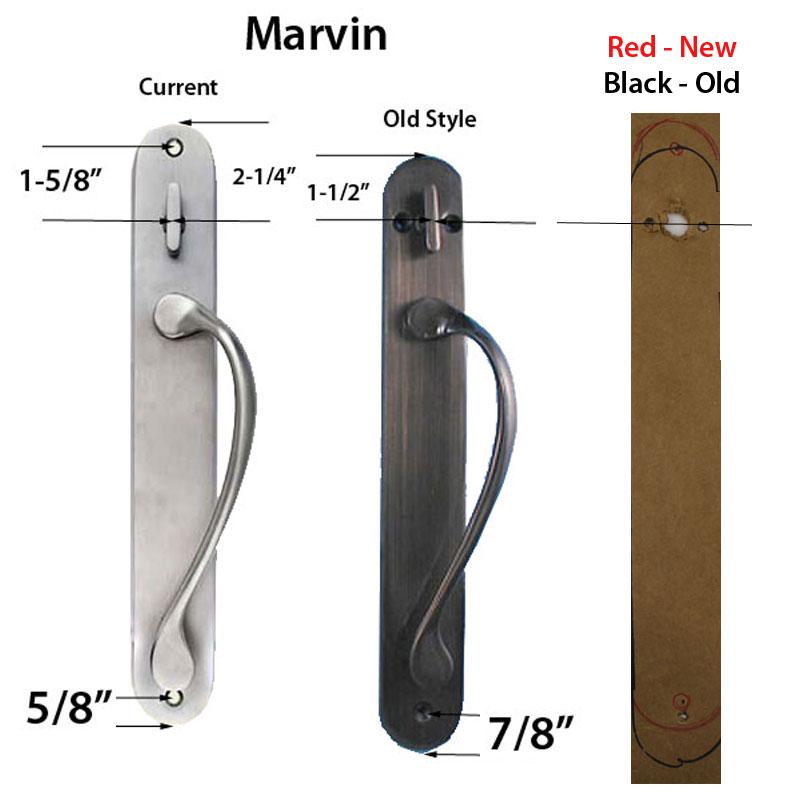 Marvin Ultimate Sliding French Door, Inactive / Dummy Wide Handle Set    Antique Brass