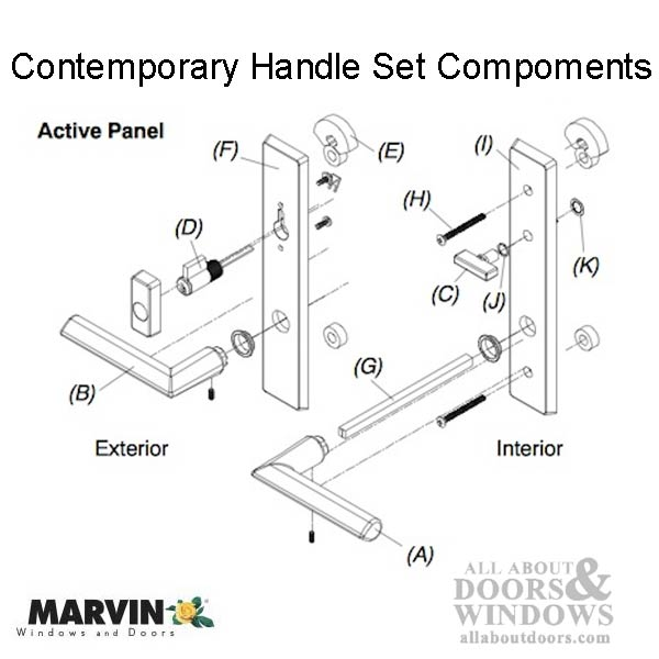 Marvin Contemporary Handle Active Ultimate Hinged French Door Pvd Oil Rubbed Bronze
