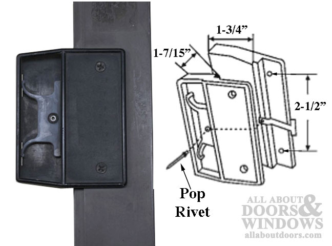 Non Handed Latch Amp Pull For Sliding Screen Door Black