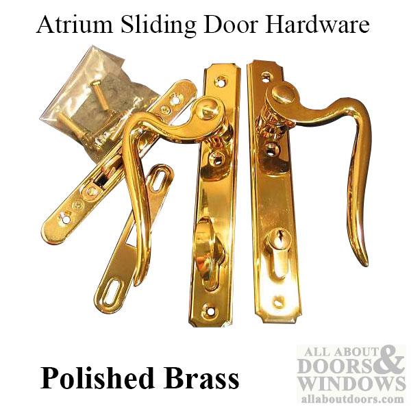 Atrium Sliding Door Hardware Polished Brass