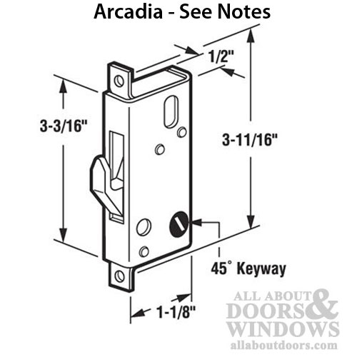 Mortise Latch Lock For Arcadia Sliding Patio Door
