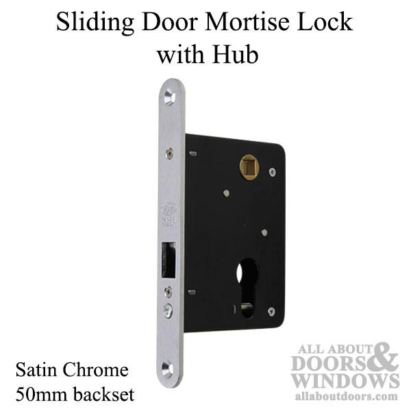 Sliding Door Mortise Lock With Hub 50mm Satin Chrome