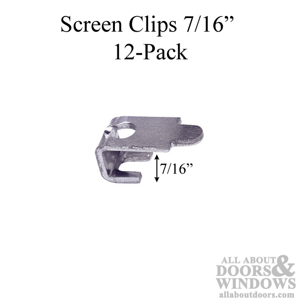 Screen Clips, C, 7/16, with Screws - Aluminum 12-pack