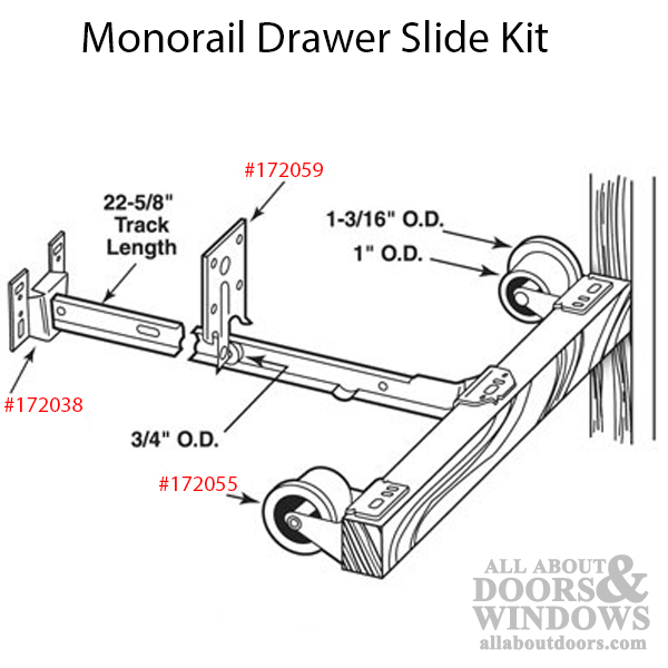 Monorail Drawer Slide Kit Drawer Track Roller All