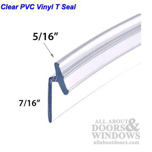 Pvc Vinyl T Seal Frameless Hinged Shower Door Clear