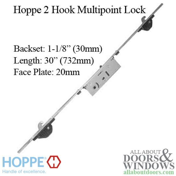 Hoppe Mp Lock 2 Hooks 30mm Sliding Door Lock 20mm Face