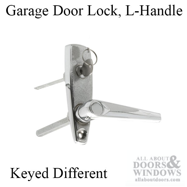 L Handle And Locking Unit For Garage Door   Chrome