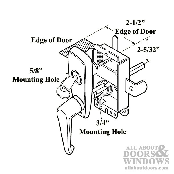 L Handle And Locking Unit For Garage Door Chrome