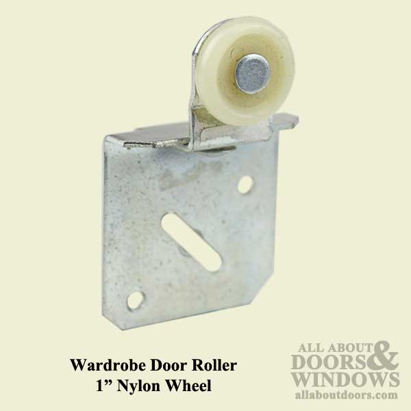 Wardrobe Door Roller Assembly With 1 Inch Nylon Wheel For