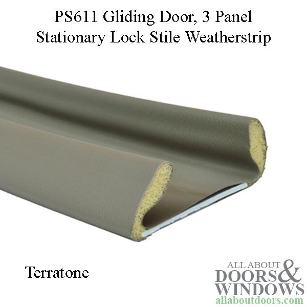Andersen Perma Shield Gliding Door Stationary 3 Panel Weatherstrip Lock Style Terratone