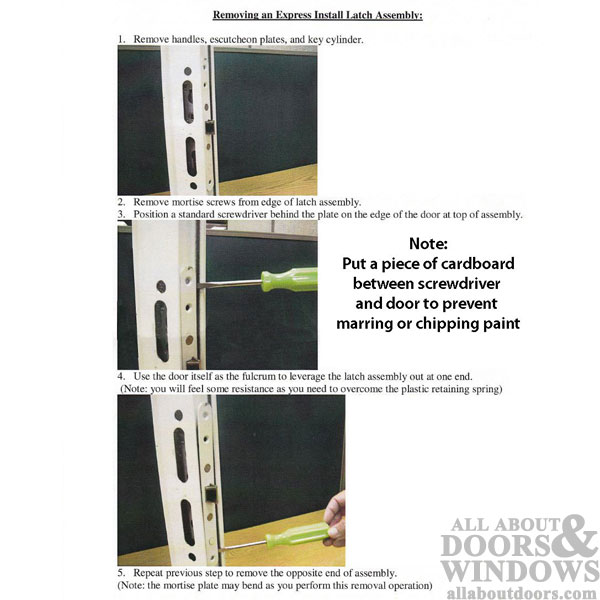 Diagram showing how to remove a mortise lock from door frame