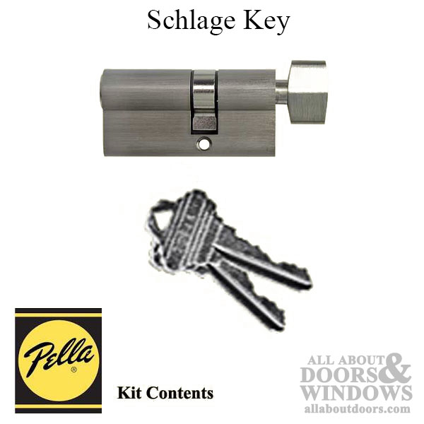 Pella 6000 Series Replacement Key Cylinder Schlage Nickel