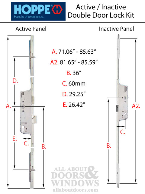 Hls One 3 Point Lock Kit Double Door System W 60mm