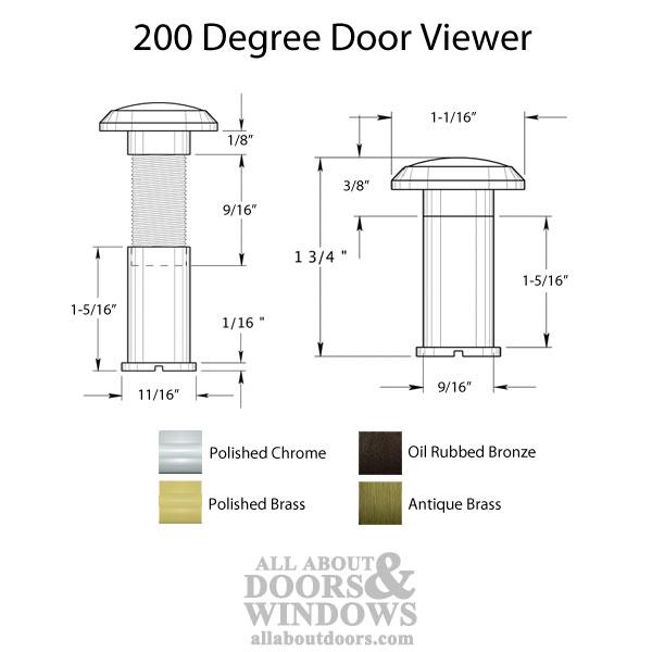 180 Degree Door Viewer For 1 3 8 In 2 In Doors Choose Finish