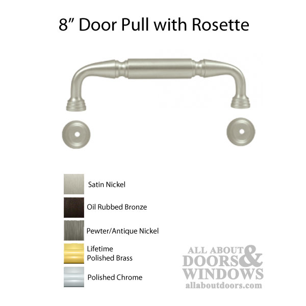 8 Quot Door Pull With Rosette Solid Brass Choose Finish