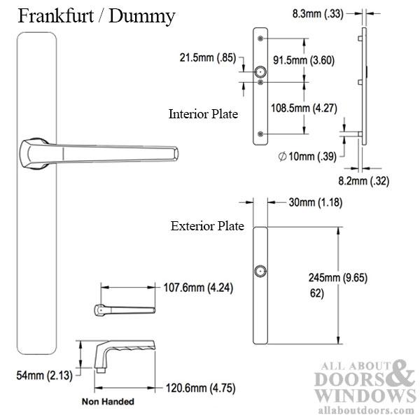 632350 Hoppe Cane lochteil Francfort 117 L alu.f1 8 mm DIN L//R