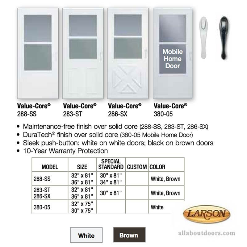 Larson Mobile Home Storm Door Self Storing
