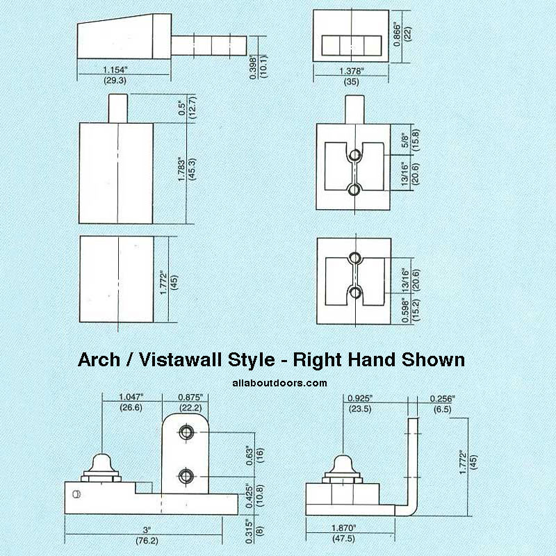 Store Front Commercial Doors Pivot Hinge Arch Vistawall Right Hand Aluminum