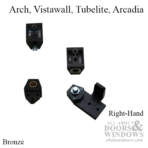Dark Bronze Right Hand Vistawall Style Aluminum Storefront Door Pivot Set Arch