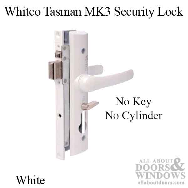 Whitco Tasman MK3 Mortise Lock + Handles, NO Cylinder - White