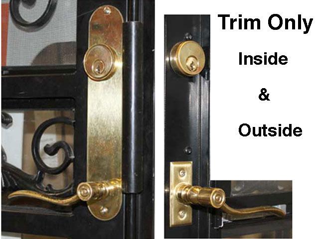 Trim Only - Steel Security Ornamental Storm Door Trim Kit - Brass