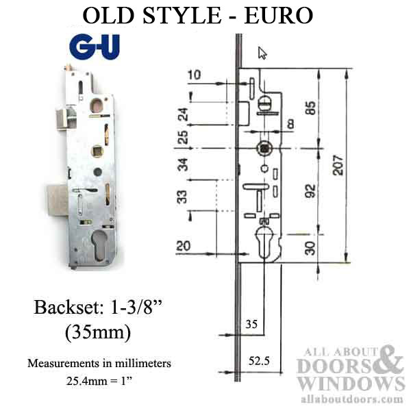 Euro Mortise Lock Case Active 35 92 Gear Old Style