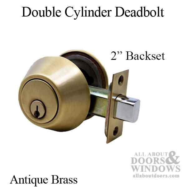 Deadbolt, 2 inch backset, Double Cylinder - Antique Brass