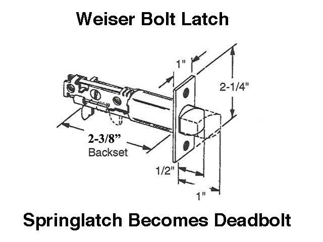 Discontunued Weiser Bolt Latch Combo Deadbolt Amp Spring