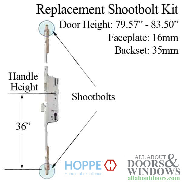 Replacement Shootbolt Kit 16 35 92 Hoppe North America Inc