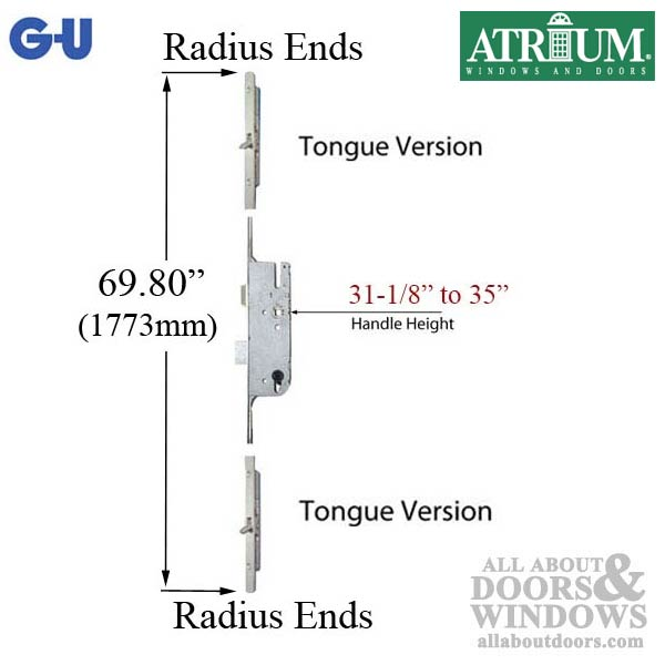 Atrium Gu 16mm Manual Tripact Version Multipoint Lock
