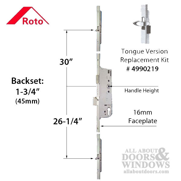 Roto Tongue Multipoint Lock 79 3 16 Inch 45mm Backset